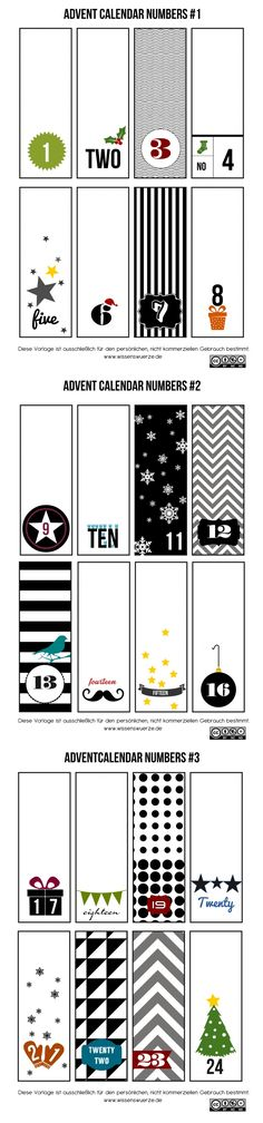 advent calendar number printouts (Web site in German)