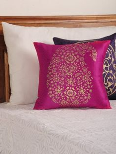 Magenta - Golden Paisley Motif Cushion Cover 16in X 16in