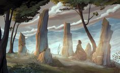 a painting of the standing stones at Craig na Dun