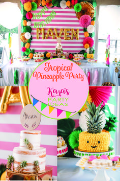 Tropical Pineapple Party--Party Like a Pineapple with fresh vibrant colors via Kara's Party Ideas!