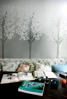 Serene walls in the homework nook Cynthia Rowley created for her kids  http://www.theglow.com/cynthia-rowley/?i#24