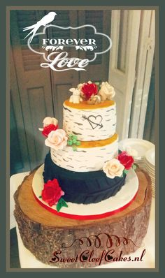 Bark wedding cake with tire layer (Groom is a mechanic😉) and sugar flower roses