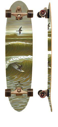 Carver skateboard - feels like a surfboard, but on land. Carver Skateboard, Painted Skateboard, Skateboard Decks, Parkour, Surfboard Art, Cool Skateboards, Surf Trip, Longboarding, Art Boards