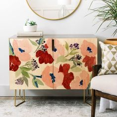 Shop the Pink Poppies Collection w/the NEW Credenza. Use this statement piece as a TV stand, armoire, bar cart, office cabinet or whatever suits your fancy!