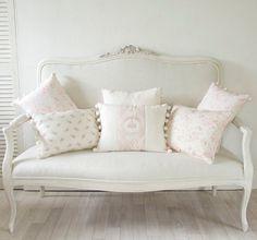 Off White Paints, Shabby Chic Sofa, Blue Shutters, Devine Design, Settee Sofa, White Sofas, Soft Furnishings, Fabric Design, Love Seat
