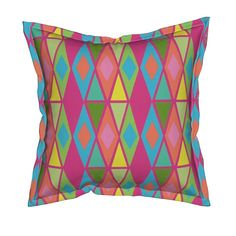 Serama Throw Pillow featuring diamond multi by dnbmama | Roostery Home Decor