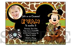 Mickey Mouse Birthday Photo Invitation, Mickey Mouse Clubhouse Party Printable Digital Invitation, Mickey Mouse Jungle Safari Invitations by PrinyBoutique on Etsy https://www.etsy.com/listing/267913069/mickey-mouse-birthday-photo-invitation