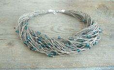 Linen hemp necklace multistrand necklace green by dekkoline