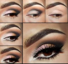 Pink & Gold Smoky Eye Makeup Pictorial with Motives Cosmetics . No matter how hard I try my eye make up will never look this good Smoky Eye Makeup Tutorial, Makeup Pictorial, Eye Tutorial, Smokey Eye Makeup, Smokey Eyeshadow, Eyeshadow Makeup, Eyeshadow Palette, Love Makeup, Makeup Tips