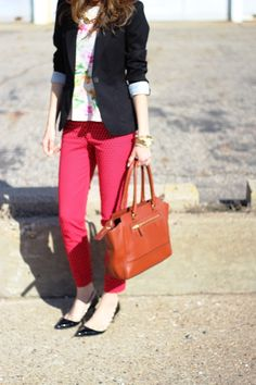Black blazer, red polka dotted pants, floral top, mixing colours and patterns, outfit idea, women's style