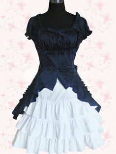 Navy And White Short Sleeves Cotton Sweet Lolita Dress on www.ueelly.com