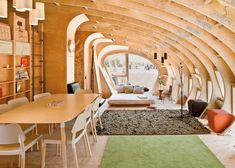 Fablab House is built solely of wood, cut from laminated timber using CNC technology. http://www.fablabhouse.com/en