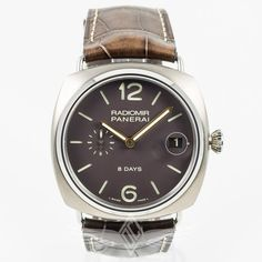 #Panerai PAM00346 45mm Titanium Radiomir 8 Day Power Reserve Chocolate Dial Rose Gold Hands Manual Wind Watch PAM346 #OCWatchCompany #WatchStore #WalnutCreek