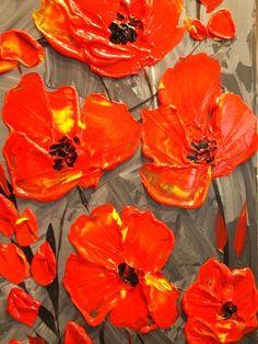 Poppies palette knife painting by Nicolette Vaughan Horner