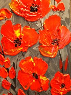 Original abstract contemporary fine art palette knife floral painting by…