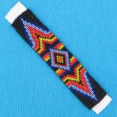 5x1 Multicolor Zig Zag Native Craft Beadwork Applique Beaded Str Loom Bracelet Patterns, Bead Loom Bracelets, Bead Loom Patterns, Beading Patterns, Aztec Patterns, Beading Ideas, Indian Beadwork, Native American Beadwork, Native Beadwork