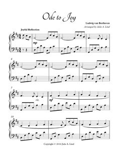 A beautiful piano arrangement of Beethoven's Ode to Joy, arranged by Julie A. Lind. The reflective introduction, combined with Beethoven's traditional Ode to Joy melody, makes this the perfect piano solo for weddings and piano recitals.