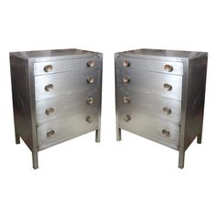 Pair of Norman Bel Geddes Steel Dresser  American  1940's  with the round knobs please