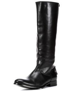 Soft, vintage leather gives Melissa a structured but never stiff edge. Flaps snap shut at the heel and calf with jaunty little buttons. No need to fuss with pull straps or boot jacks: a full length back zip simplifies. Stacked leather heel and sole.