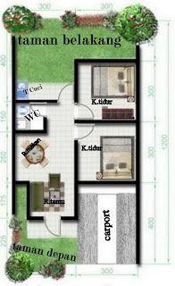 contoh sketsa desain rumah type 36/72 yang sangat populer