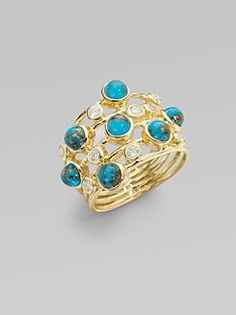 Ippolita  Bronze Turquoise, Diamond 18K Gold Ring