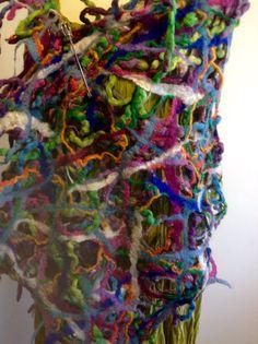 Hand Felted wool scarf shawl multi colour blue purple green orange pink by Fibre art to wear Orange Pink, Green And Orange, Pink Blue, Felted Wool, Wool Felt, Fibre Art, Nuno Felting, Handmade Design, Wool Scarf