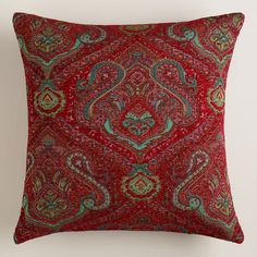 One of my favorite discoveries at WorldMarket.com: Red Jacquard Caravan Throw Pillow