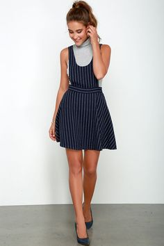Pinafore Your Thoughts Navy Blue Striped Pinafore Dress at Lulus.com!