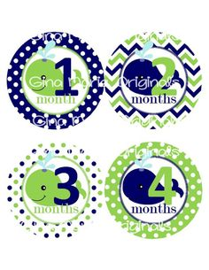 Baby Monthly Milestone Growth Stickers Navy Green Whale Nursery Theme Baby Shower Gift Baby Photo Prop on Etsy, $10.00