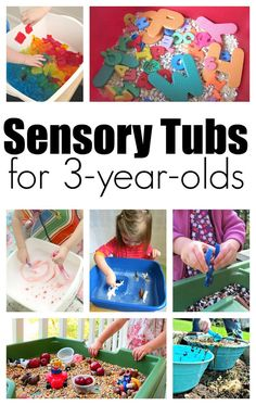 Sensory tubs for 3 year olds, great sensory play for preschool from http://notimeforflashcards.com