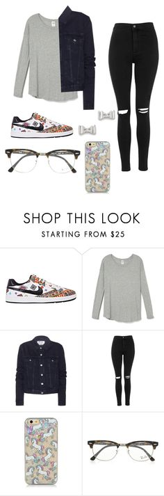 """Those shoes tho..."" by eemaj ❤ liked on Polyvore featuring NIKE, Acne Studios, Topshop, Ray-Ban and Marc by Marc Jacobs"