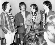 John Lennon, left, gives a big guffaw during Beatles press conference in San Francisco's Cow Palace on August before their performance. From left are John: George Harrison, Ringo Starr and Paul McCartney. Beatles One, Beatles Poster, Paramount Theater, Kinds Of Dance, Laugh A Lot, The Fab Four, Wife And Girlfriend, Ringo Starr, George Harrison
