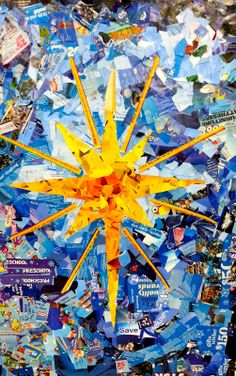 There's a lesson in there about what's really important.....artwork created out of the plethora of ads during the Advent season - cool idea for youth groups