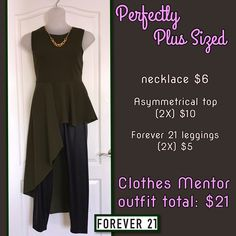 We carry plus sizes in our store, up to size 3X. Beauty comes in all shapes and sizes and fashion forward options don't have to be expensive.  . . necklace...$6 asymmetrical top (2X)...$10 Forever 21 leggings (2X)...$5 Clothes Mentor outfit total: $21  #cmstyle #plussize #fashionforless #ootd #dressforless #fabulousfashion #gottahaveit #fashionistas