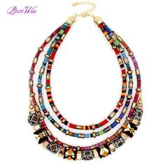 Latest Women Multi layers Statement Necklace Boho Style Wrap Chains Ball…