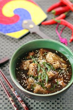 Hearty Korean Style Spicy, Sweet Beef Rib Stew Sprinkled with Sesame Seeds and Scallions