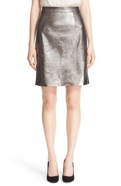 Milly Metallic Leather Pencil Skirt available at #Nordstrom