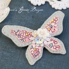 """""""Grey Textile Butterfly Brooch"""""""