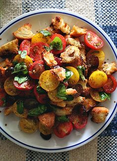 Lunch or Dinner - Bread chunks, tomatoes, basil, grapes