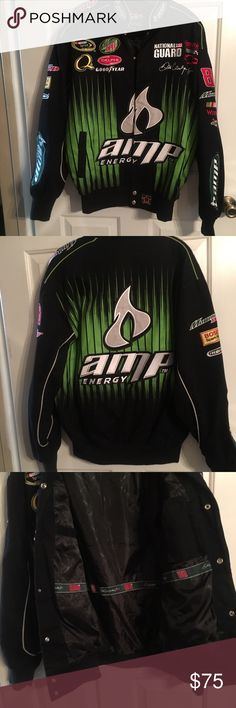 Authentic Dale Earnhardt Jr. Jacket This JR Nation Authentic coat has a tag that says Sm but the coat fits bigger. It fits more like a L/XL. The body is 100% cotton, lining is 100% Poly and trim is 100% Acrylic. This is a NEW coat without tags. Jackets & Coats