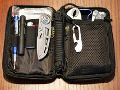 My EDC tool kit (Condor Pocket Pouch).  Contents: American Medical Kits Pocket Survival Pak, fire starter kit, Bic mini lighter, Streamlight Microlight 1A flashlight, 4 extra 1A batteries, Gerber skeletal folding knife, Precision Screwdriver Set - 9 Pc; Torx, Phillips, eye glass repair kits and replacement screws, black paracord - 12', Nite Ize Doohickie mini tool, mini vise grips, mini pry bar, Leatherman Skeletool and 5 piece blade kit.