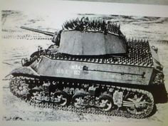 """Фото: Light tank M3 """"Stuart"""" in the experimental protection from infantry, 1944."""