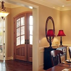 Sw 2828 Colonial Revival Tan sherwin Williams paint with chair rail and panel walls below. Pretty for the pool room!!