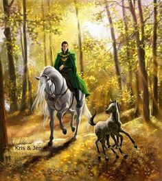 Loki and his baby Sleipnir.  Really well drawn/painted/however-the-artist-made-it.