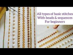 Aari work embroidery basic stitches with beads and sequences  for beginners  explanation in Tamil - YouTube