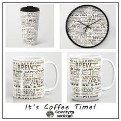 Coffee - In So Many Words Coffee Mugs and Clock at #Society6 by #Gravityx9 Designs -  #coffeemug #coffee #coffeeaddict #coffeelover #coffeegift  #mugs #coffeetime