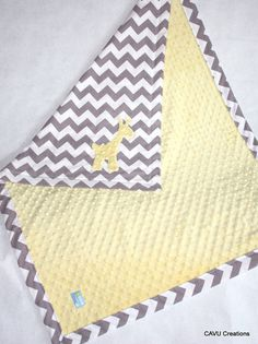 Gray Chevron & Yellow Minky Baby Blanket with by CAVUcreations