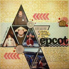 Layout con My Mind's Eye The Sweetest Thing sellos de Dilo en Español y madera de Wood Memories. Sk 104 para Libres de Ácido Epcot, Hollywood Walk Of Fame, Layouts, Wood
