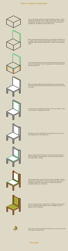 Comments How to make a pixel chair This is a fourth part of my pixel art tutorial series and in this part you will learn how to make a pixel chair. If you don& know what pixel art is or you would . Design Reference, Art Reference, How To Pixel Art, 8 Bit Art, 8 Bits, Isometric Art, Pixel Art Games, Digital Art Tutorial, Photoshop