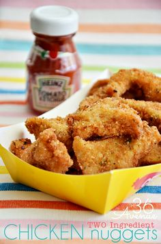 TWO INGREDIENT Chicken Nugget Recipe by the36thavenue.com Easy, quick and SO DARN DELICIOUS!